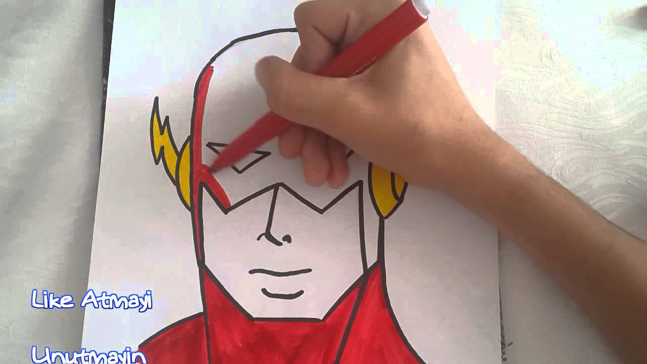 Süper Kahramanlar The Flash çizimi How To Draw The Flash Youtube
