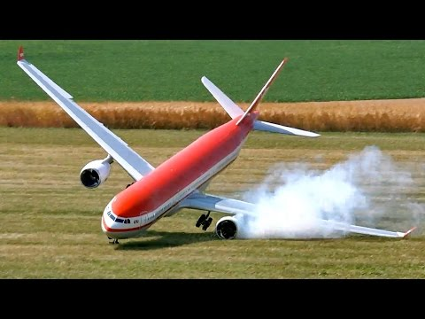 RC AIRLINER CRASH AIRBUS A330-300 LTU GIGANTIC RC MODEL WITH TURBINE PROBLEM / Airliner Meeting 2015