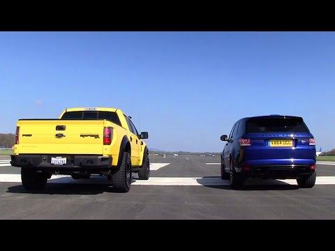 Supercharged showdown! Hennessey VelociRaptor Vs Range Rover Sport SVR | Top Gear Magazine