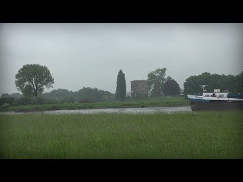 Rain Sounds with Boats passing Old Castle at the River