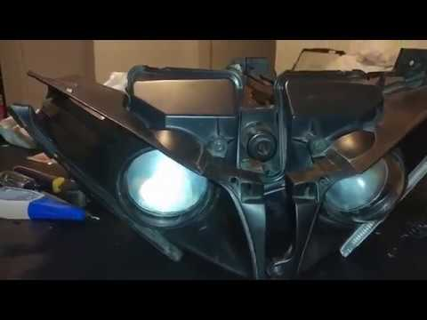 2009 -2014 Yamaha R1 HID set up with aftermarket headlamps - YouTube