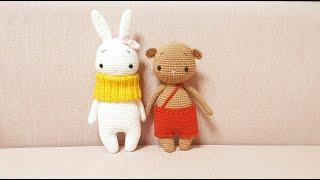 나의 첫 코바늘인형 - 토끼와 곰인형 만들기 part1 (인형 초보용) My first crochet doll - rabbit and bear (beginner friendly)