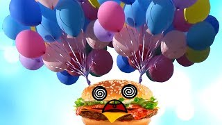 Launch a Burger in the Sky on Balloons. Fun experiment for children by UT kids. Family Video