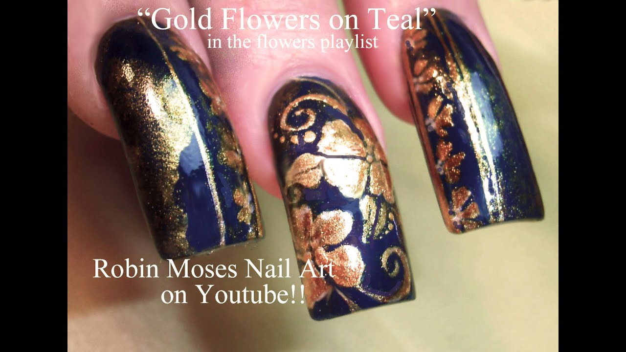 Gold Flower Filigree Nail Art For Long Nails Diva Lush Design