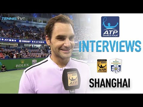 Federer Reacts To Win Over Dolgopolov In Shanghai