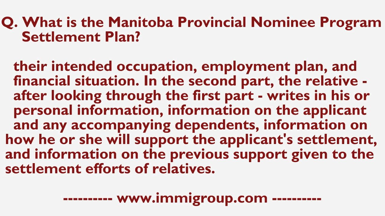What is the Manitoba Provincial Nominee Program Settlement Plan?