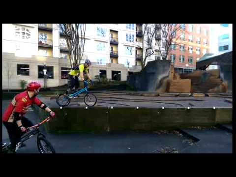 Trials biking in downtown Portland.