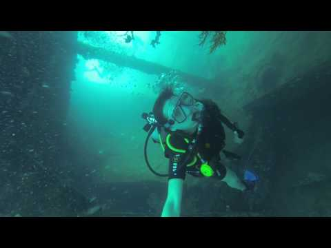 The Teacher Traveller scuba diving through shipwreck