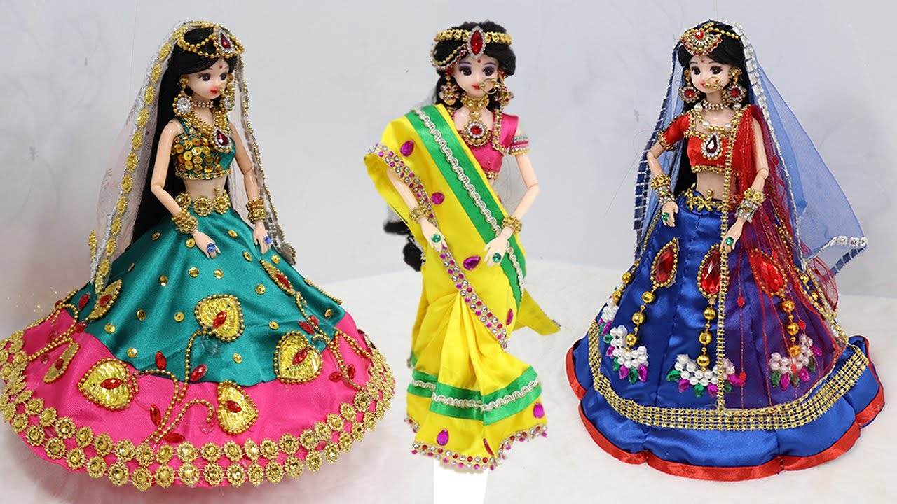 3 South indian bridal dress and Jewellery | 3 Doll decortion ideas |38