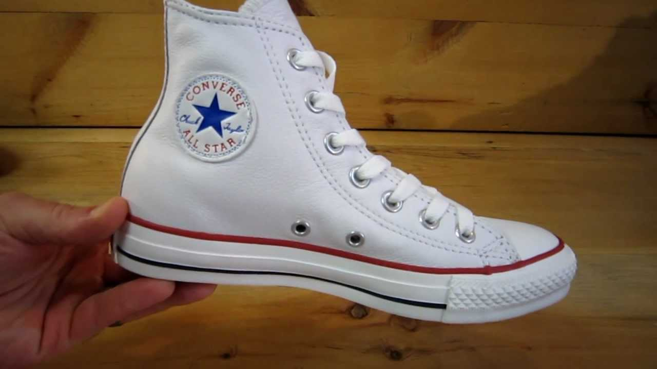 311ae2f9a7b9 Converse All Stars Chuck Taylor High Leather White - YouTube