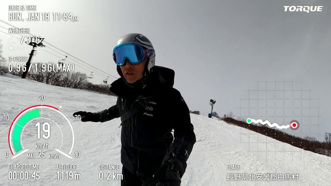 TORQUE G04 Action Overlay スノーボード撮影映像