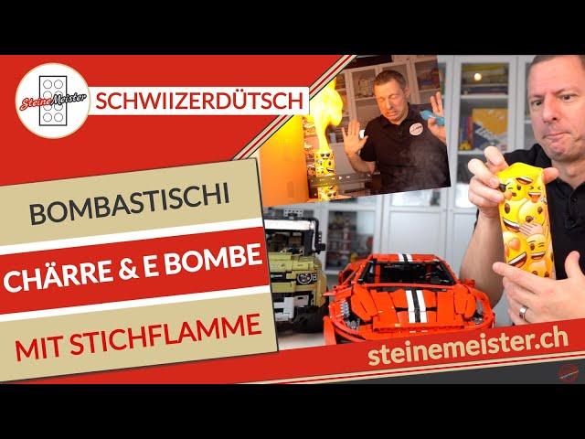 Bombastische Chärre met em Cada Ferrari, Lego Land Rover & e Bombe mit Stichflamme. E Zämefassig.
