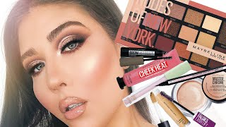 """MAYBELLINE """"NUDES OF NEW YORK"""" EYESHADOW PALETTE   Full-Face Makeup Tutorial   ALL DRUGSTORE!"""