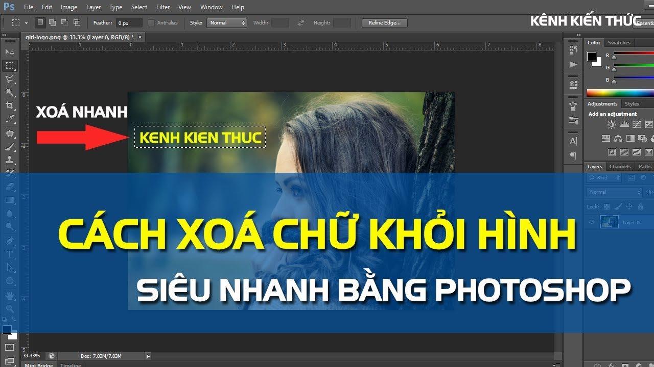 Cách xóa chữ trên ảnh bằng Photoshop siêu nhanh | Kênh Kiến Thức