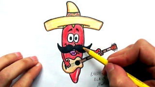 How to draw Red Chili Pepper With Mexican(Ehedov Elnur)Как нарисовать Перец Чили