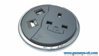 PortHole Desk Top Power And Data Module With Optional USB Or HDMI Sockets