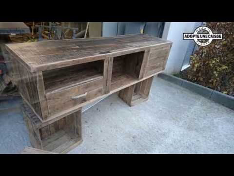 meuble tv caisses bois youtube. Black Bedroom Furniture Sets. Home Design Ideas
