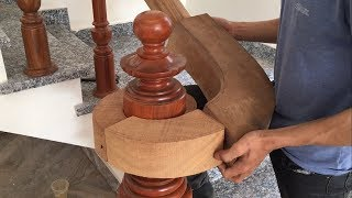 Amazing Woodworking Techniques Extremely Smart Skills Of Carpenter - Skills Build Wooden Handrail