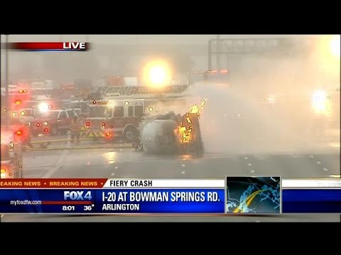 Fire shuts down I-20 in Arlington.