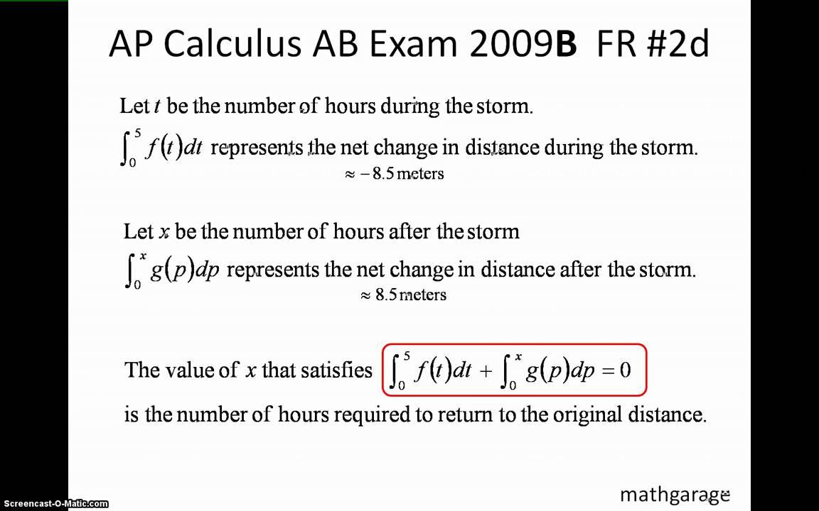 AP Calculus AB 2009 Form B FR 1-6 - YouTube
