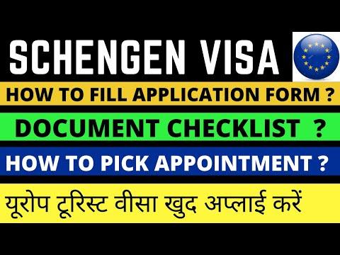 how to apply europe schengen visa in hindi/ online/ visa fee / document checklist / process.