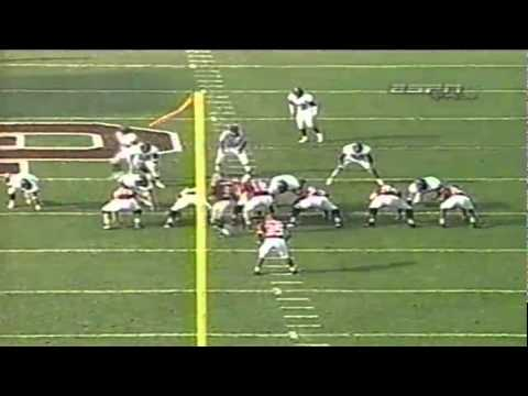 Oregon DE Victor Filipe sacks Oklahoma QB Jason White on broken play 9-18-2004