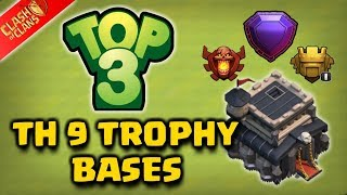 TOP 3 Best TH9 Trophy Saving Base 2017 | Trophy Pushing base | Best TH9 Defense | Clash Of Clans