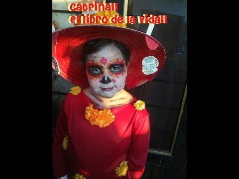 Maquillaje Catrina de la pelicula El libro de la vida, para niñas the book of life , YouTube