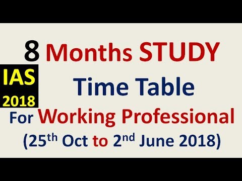 IAS 2018 = 8 Months STUDY TIME TABLE till for IAS Working professional including college aspirants