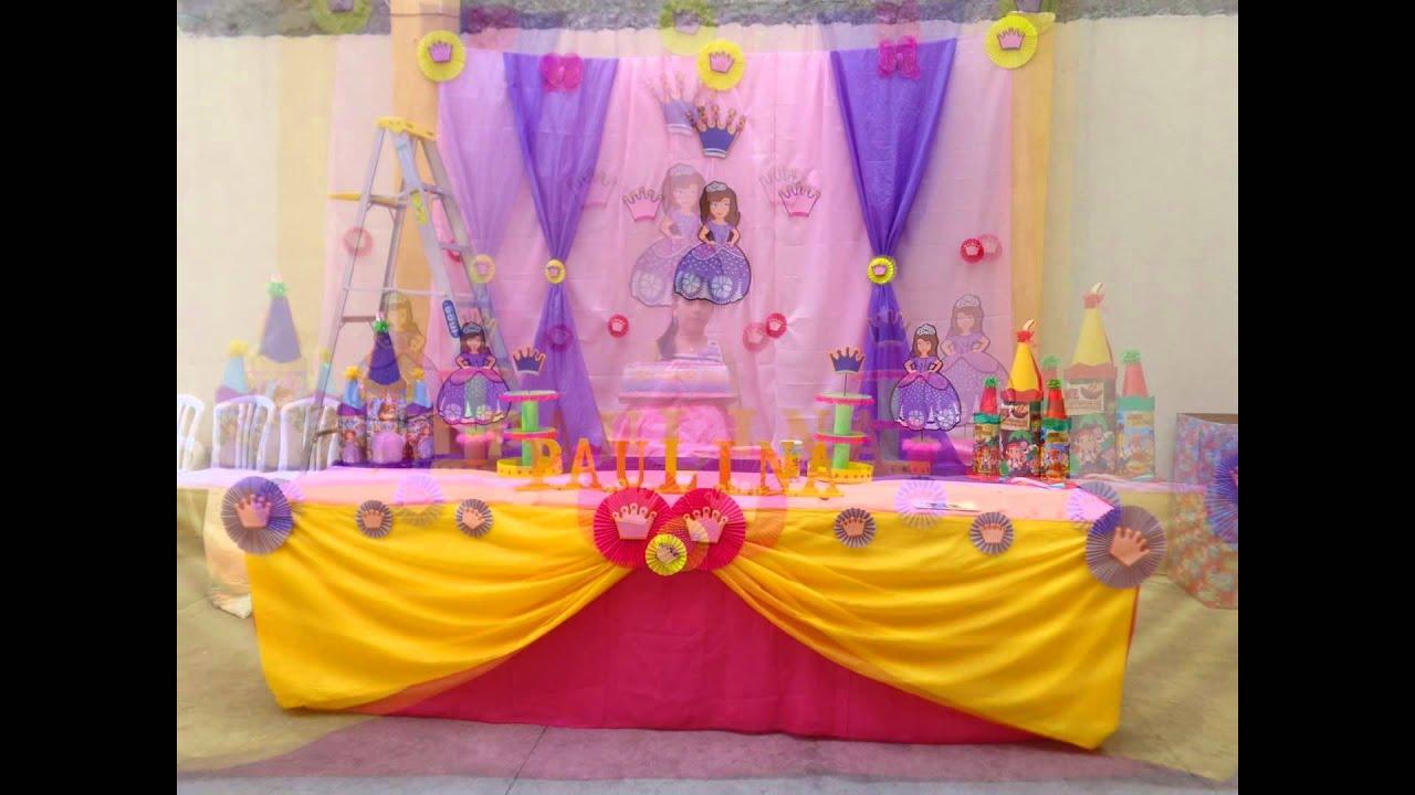 Decoracion de princesa sofia decocandy youtube for Decoracion de princesas