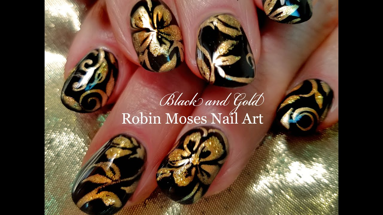 DIY Flower Nail Art | Black and Gold Floral Nails Design Tutorial ...