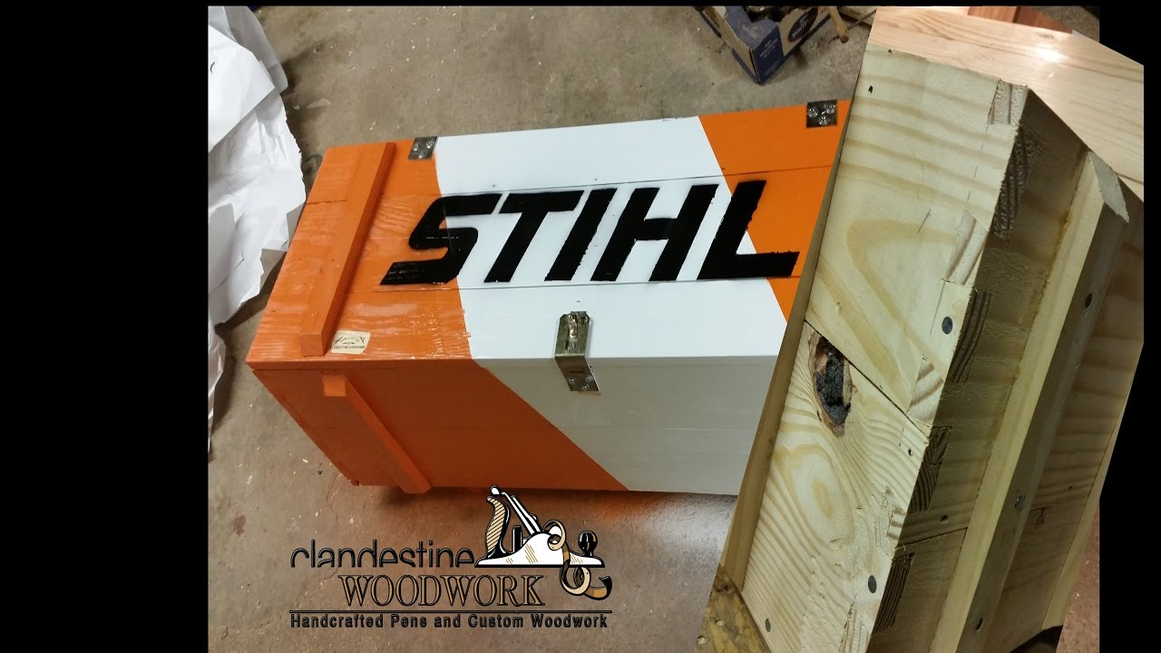 017 Chainsaw Storage Rustic Toolbox Hand Cut Dove Tails