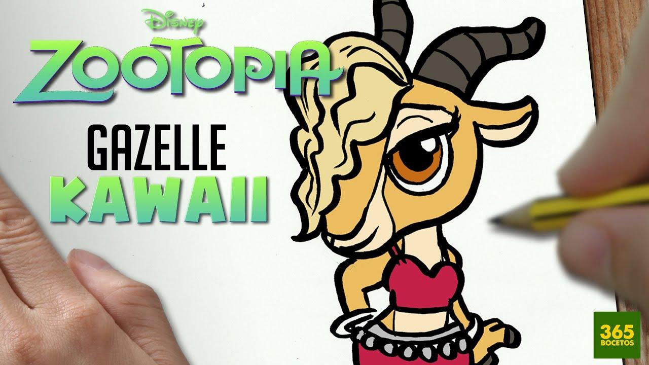 COMO DIBUJAR GAZELLE ZOOTOPIA KAWAII PASO A PASO , Dibujos kawaii faciles , How to draw a GAZELLE , YouTube
