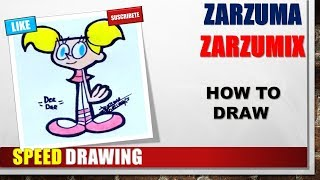 SPEED DRAWING HOW TO DRAW DEE DEE STEP BY STEP EASY AND FAST