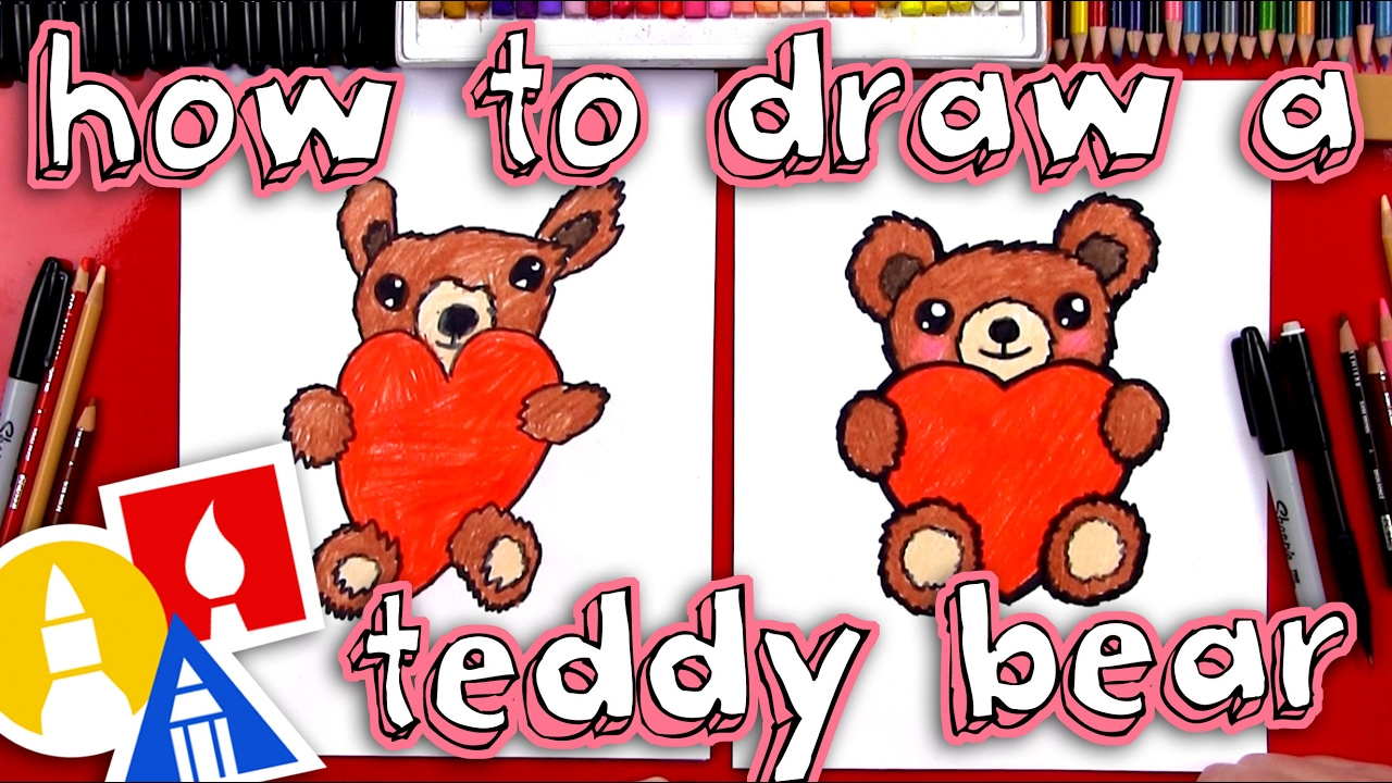 How To Draw A Teddy Bear Holding A Heart Youtube