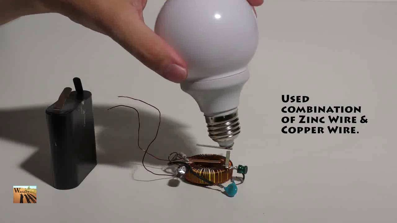 Magic Trick Wireless Electricity for Light Bulb. Energy Transfer ...