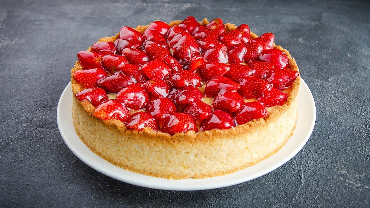 Кому кусочек? Изумительный Пирог со свежей Клубникой🍓Тарт с заварным кремом и ягодами