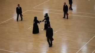 2016 全日本女子学生剣道選手権 3回戦 筑波大 合瀬 vs 國學院 長谷川