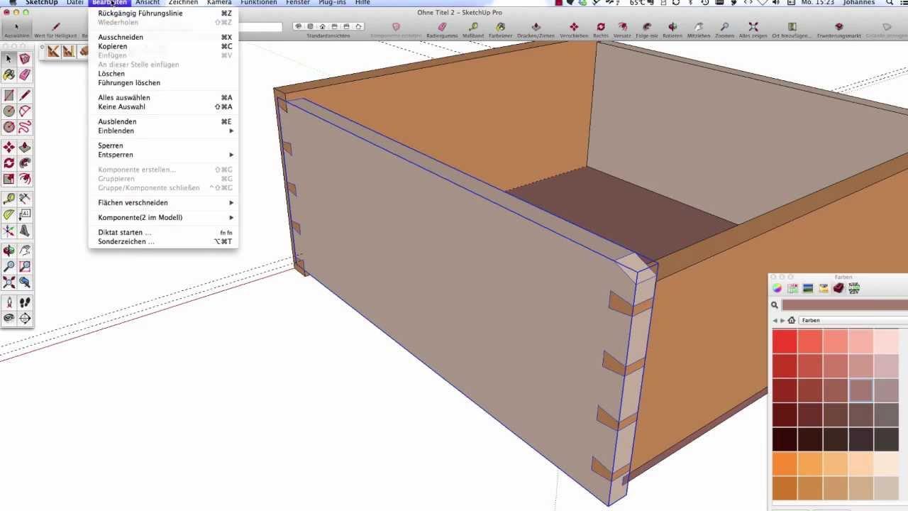 klassischer schubkasten mit sketchup classic drawer design with sketchup youtube. Black Bedroom Furniture Sets. Home Design Ideas