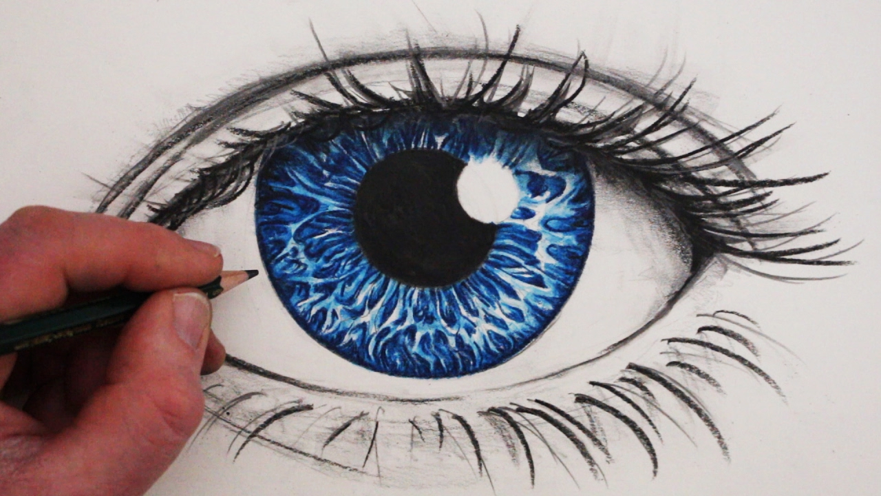 How to draw a realistic eye in colour youtube