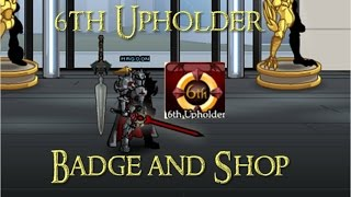 aqw 6th upholder character page badge and shop