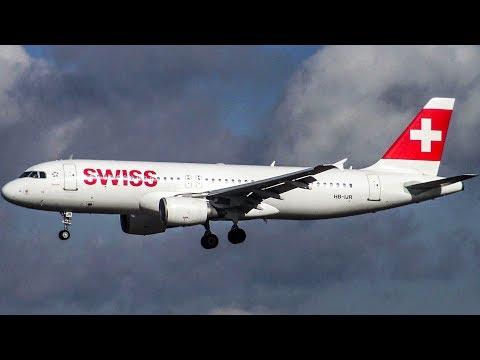Swiss Airbus A320-214 HB-IJR Landing at Hamburg Airport