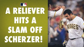 Daniel Camarena, a Padres reliever called up today, hit a GRAND SLAM off Max Scherzer!