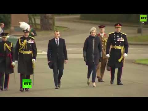 Macron and May arrive at Sandhurst