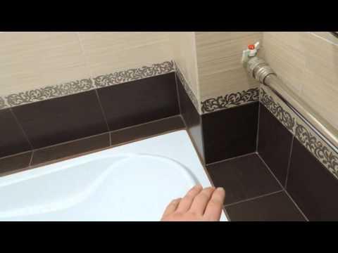Раскладка плитки с учетом короба в ванне