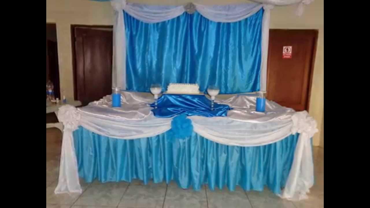 Decoracion para bautizo de varon en turquesa y blanco for Decoracion para bautizo