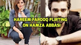 Hareem farooq flirting on Hamza Ali Abbasi in live show