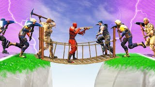 1 PLAYER vs. 99 ZOMBIES On A BRIDGE! (Fortnite)