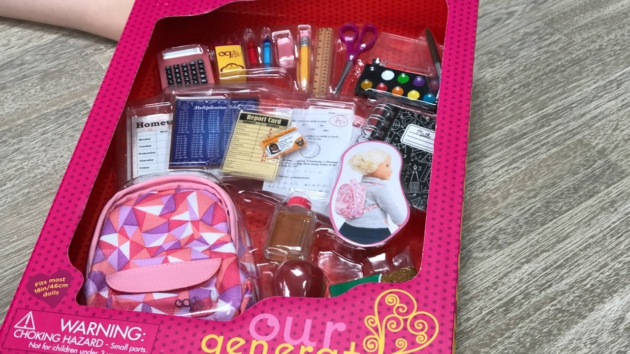 """Our Generation Off To School fits 18/"""" Doll AMERICAN Girl Backpack Supplies New!!"""
