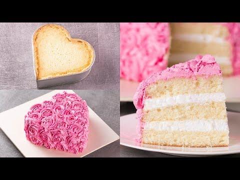 HEART SHAPE VANILLA ANNIVERSARY CAKE I BIRTHDAY CAKE I EGGLESS & WITHOUT OVEN